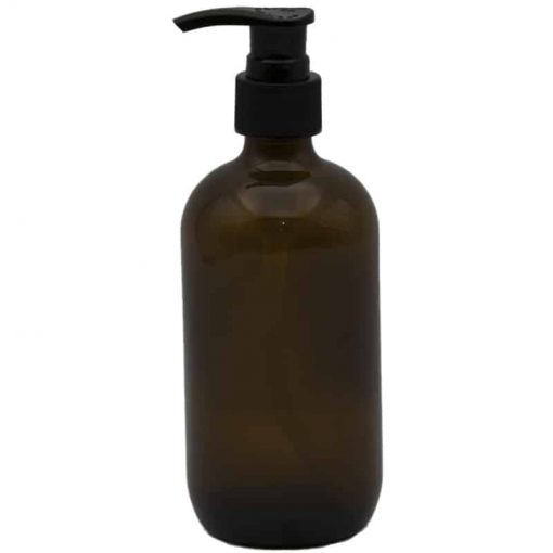 Amber Glass Bottle with Lotion Pump